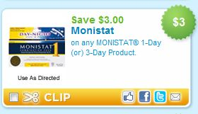 picture regarding Monistat Printable Coupons titled Printable Coupon Warn: $3.00 Monistat - Koupon Karen