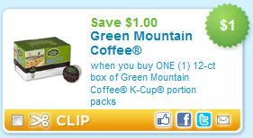 image about Printable Coffee Coupons identified as Printable Coupon Warn: Environmentally friendly Mountain Espresso K-Cups
