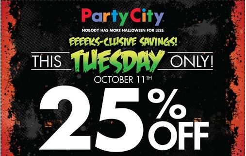 Party City Halloween Printable Coupon: 25% off today only!