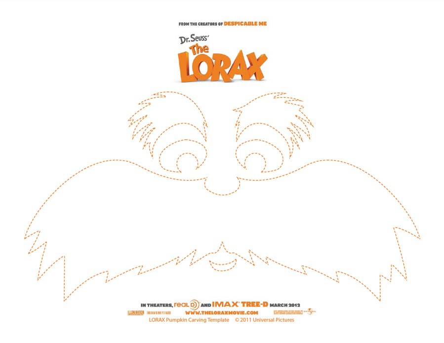 picture regarding Lorax Template Printable titled Absolutely free Pumpkin Carving Template: Dr. Seuss The Lorax - Koupon