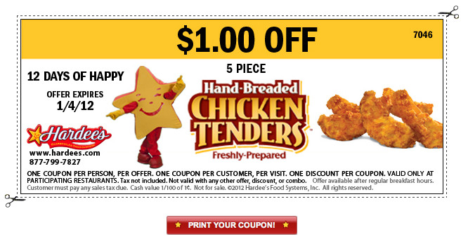 image relating to Hardee's Printable Coupons identify Hardees 5 Piece Chook Tenders Printable Coupon