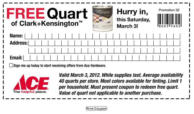 photo relating to Ace Hardware Printable Coupon identify Ace Components Printable Coupon: Totally free Quart of Clark