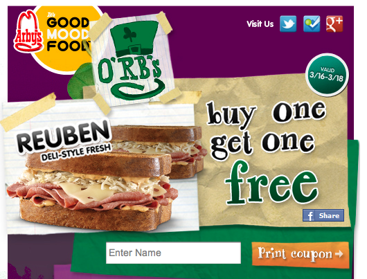 photograph regarding Printable Arbys Coupons titled Arbys Printable Coupon - Koupon Karen