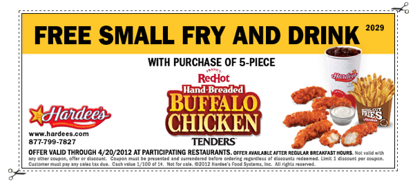 image relating to Fry's Printable Coupons named Hardees: Totally free Minor Fry Consume Printable Coupon - Koupon Karen