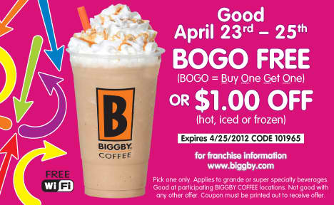 image about Printable Coffee Coupons called Biggby Espresso Printable Coupon: Obtain Just one Choose 1 Absolutely free