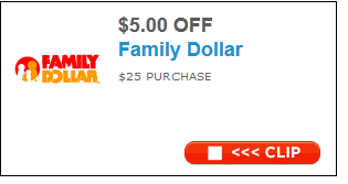 $5 of $25 at Family Dollar Printable Coupon - Koupon Karen