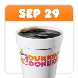 Dunkin Donuts National Coffee Day Freebie