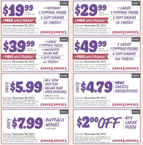 image about Disney World Printable Coupons titled Chuck E Cheese Printable Coupon codes Oct 2013