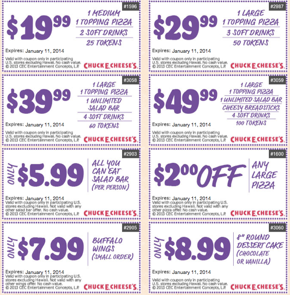 photograph regarding Marshalls Printable Coupons identify Chuck E Cheese Printable Discount codes December 2013