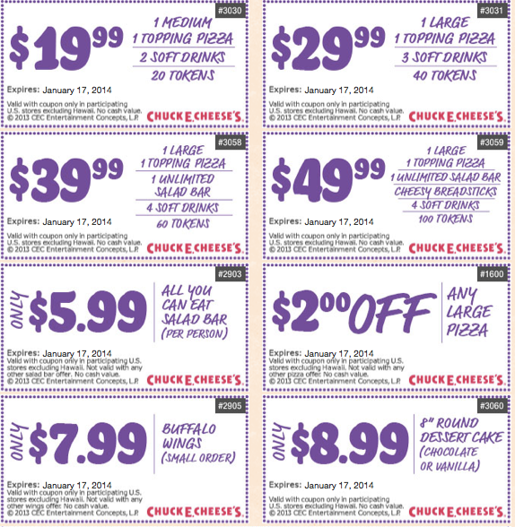 image relating to Claires Printable Coupons identified as Chuck E Cheese Printable Discount codes January 2014