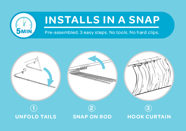 how to install a curved shower curtain rod