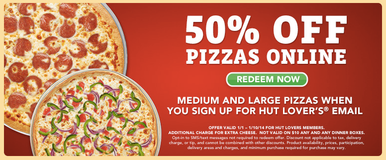 50% off Online Ordering at Pizza Hut