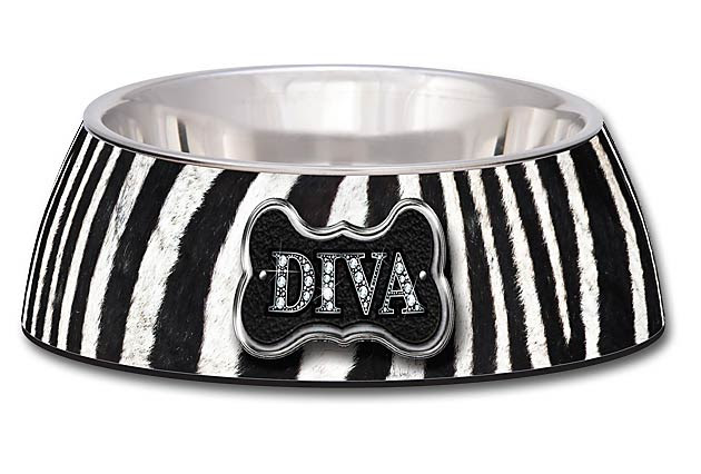 zebra dog bowl