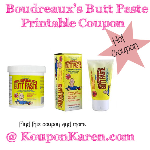 Bourdreaux's Butt Paste Diaper Cream Printable Coupon