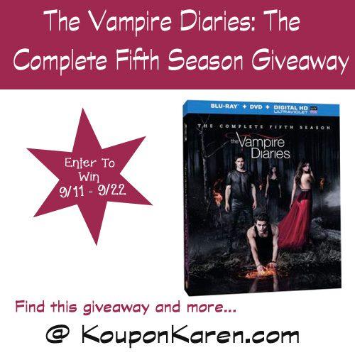 (1) Koupon Karen reader will win The Vampire Diaries- The Complete Fifth Season