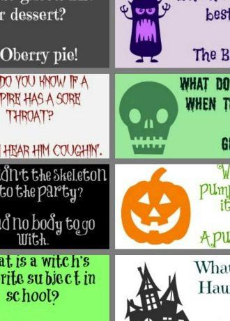 Halloween Joke Lunch Box Notes
