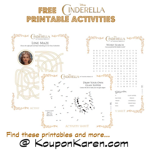 FREE Cinderella Activity Sheets #Cinderella