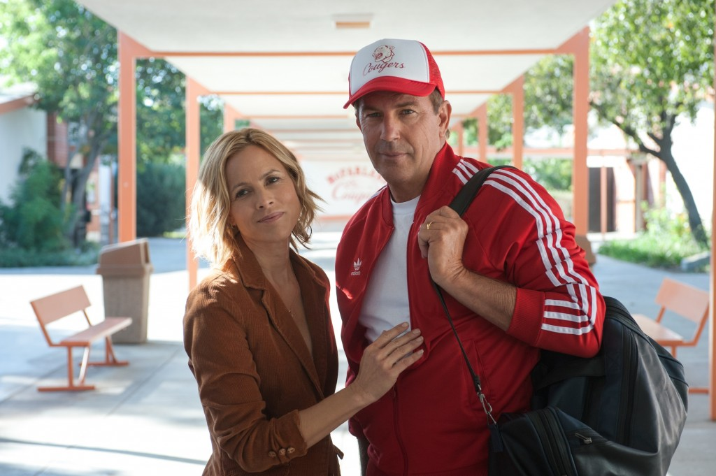 McFARLAND, USA..L to R: (Maria Bello) and Coach Jim White (Kevin Costner)..Ph: Ron Phillips..©Disney 2015