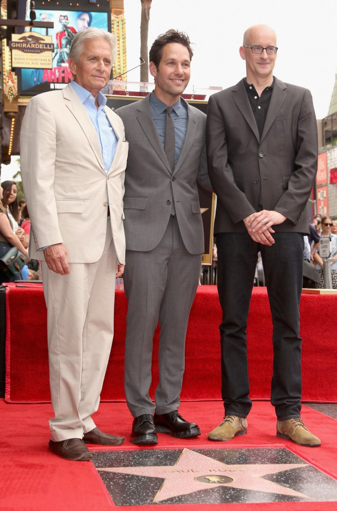 HOLLYWOOD, CA - JULY 01:  Actor Paul Rudd (C) poses with actor Michael Douglas (L) and director Peyton Reed as he is honored with a star on the Hollywood Walk Of Fame on July 1, 2015 in Hollywood, California.  (Photo by Jesse Grant/Getty Images for Disney) *** Local Caption *** Michael Douglas;Paul Rudd;Peyton Reed