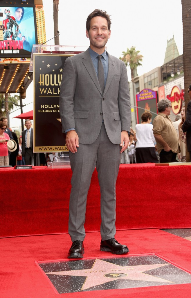 HOLLYWOOD, CA - JULY 01:  Actor Paul Rudd honored with a Star on The Hollywood Walk of Fame on July 1, 2015 in Hollywood, California.  (Photo by Jesse Grant/Getty Images for Disney) *** Local Caption *** Paul Rudd